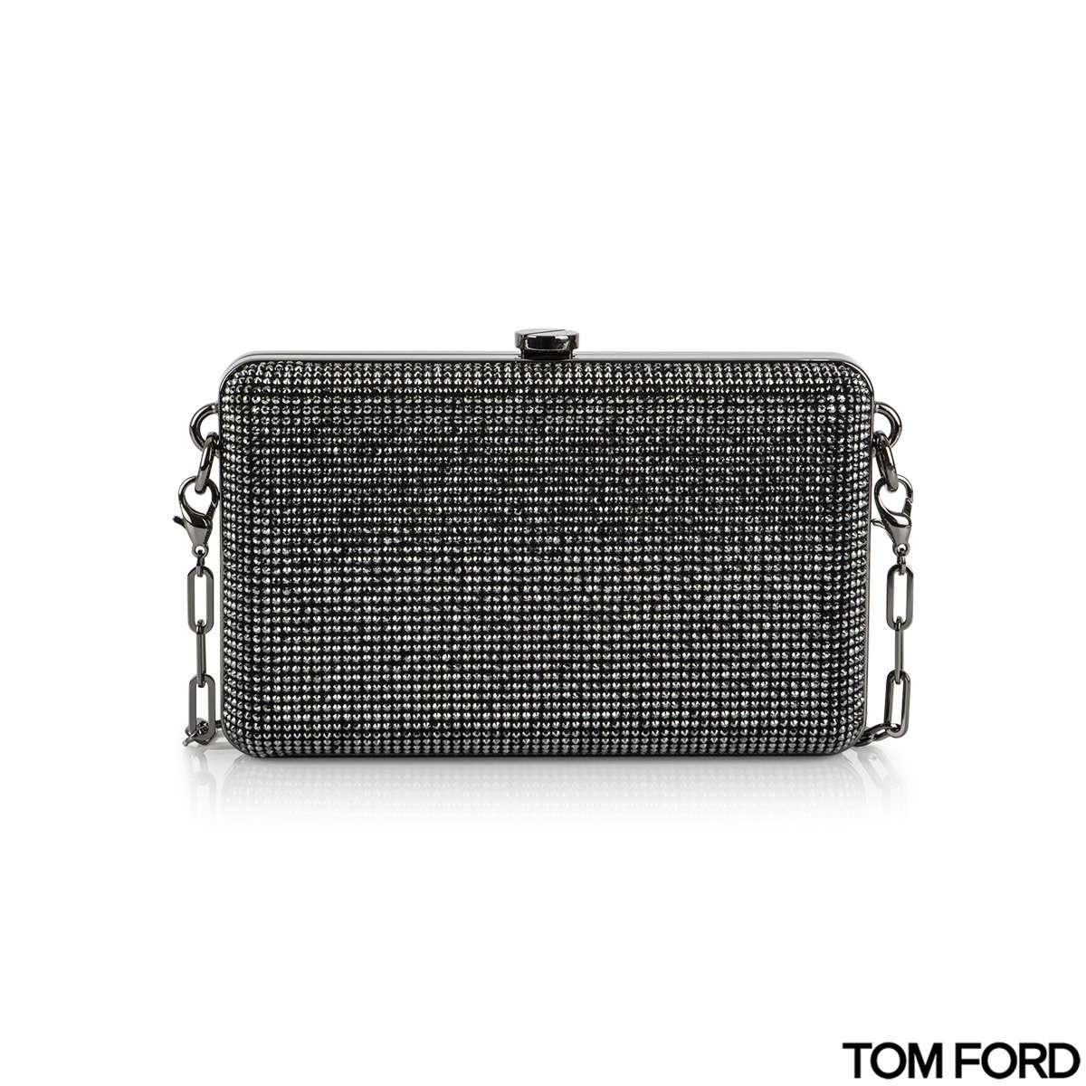 Tom Ford  Crystal-Embellished Mini Silver Suede Clutch Bag